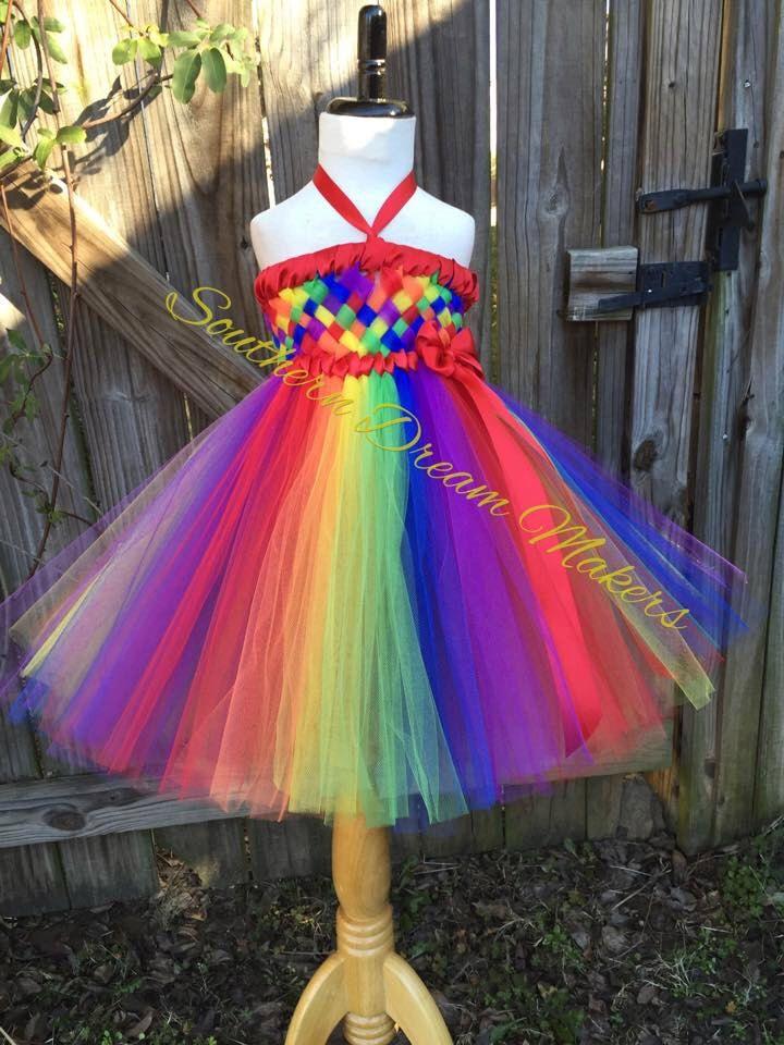 Rainbow Tutu Dress with Flowers