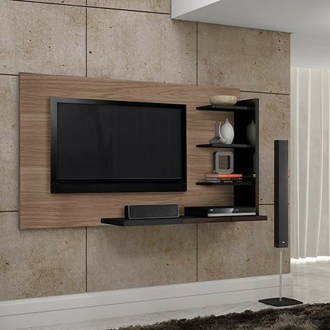Wall Mounted Tv Stand With Black Shelves New R6000 Trang Tri