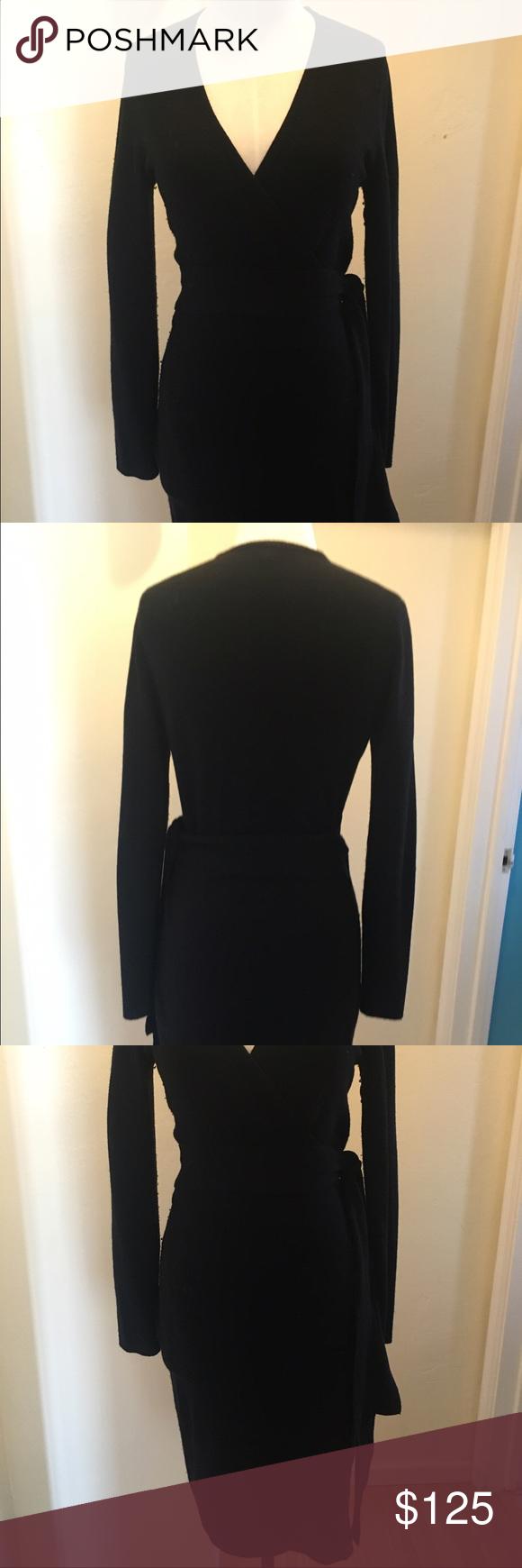 Dvf wool black wrap dress wrap dresses black wool and wool sweaters