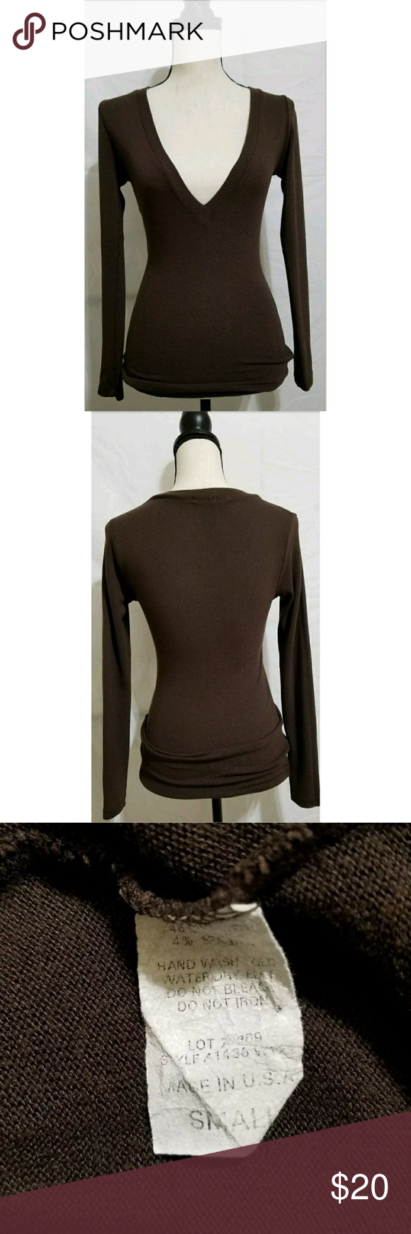 """Forever 21 Brown V-neck Lightweight Sweater S Junior's Forever 21 brown v-neck sweater, size small. It is in excellent used condition with no stains, tears, rips or holes that I can see.  48% polyester/48% rayon/4% spandex  Chest: 32"""" Armpit to armpit: 16"""" Shoulder to waist: 25.25"""" Armpit to waist: 17"""" Sleeve: 23.75""""  All items come from a smoke and pet free home. Forever 21 Sweaters V-Necks"""