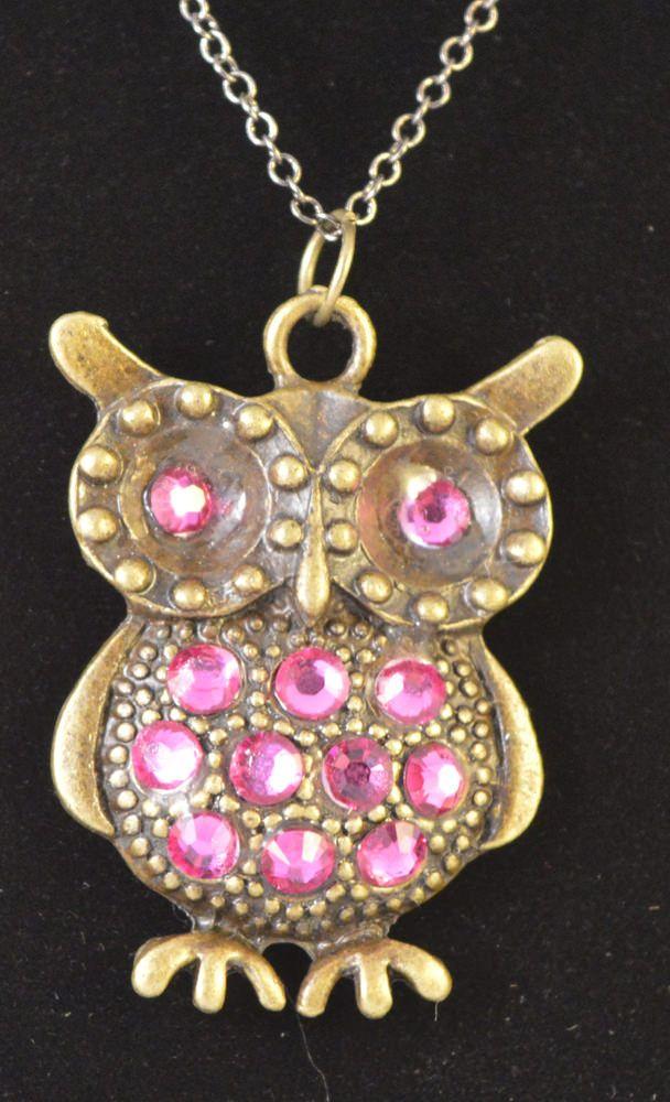Bronze Owl with Fuschia Swarovski Crystals - Crafty Magpie