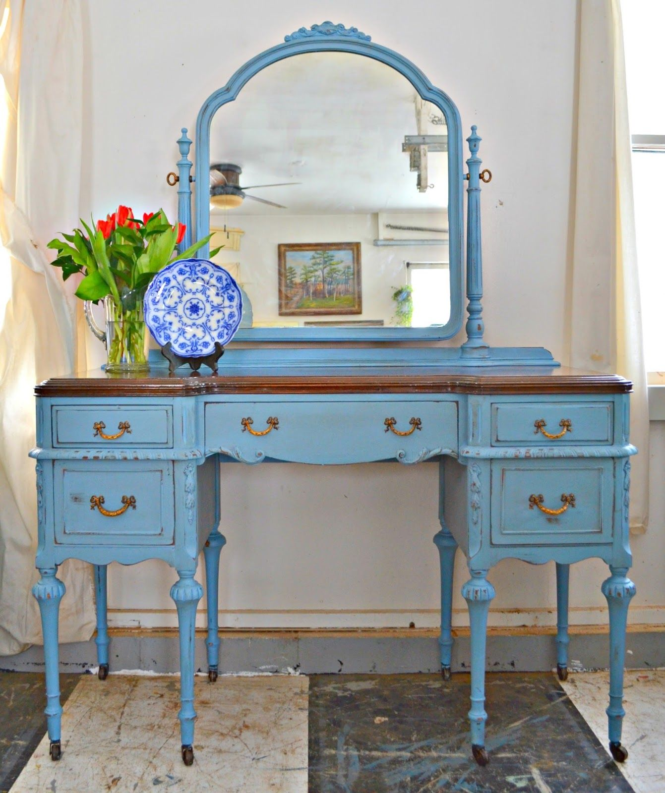 Heir and Space An Antique Vanity in Wedgwood Blue in 2019
