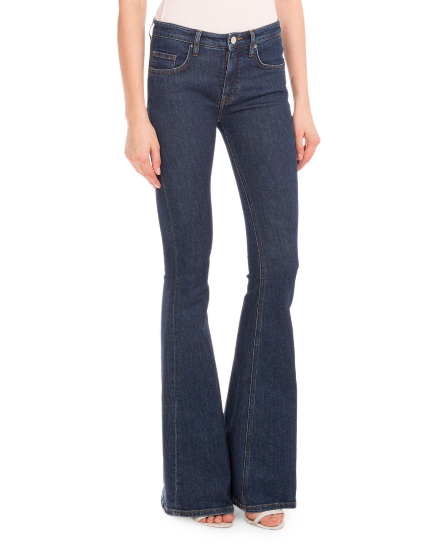 Five-Pocket Flare-Leg Jeans, White
