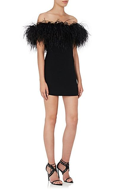 Off-the-shoulder Ostrich feather-trimmed dress Saint Laurent F1iQbbmFDY