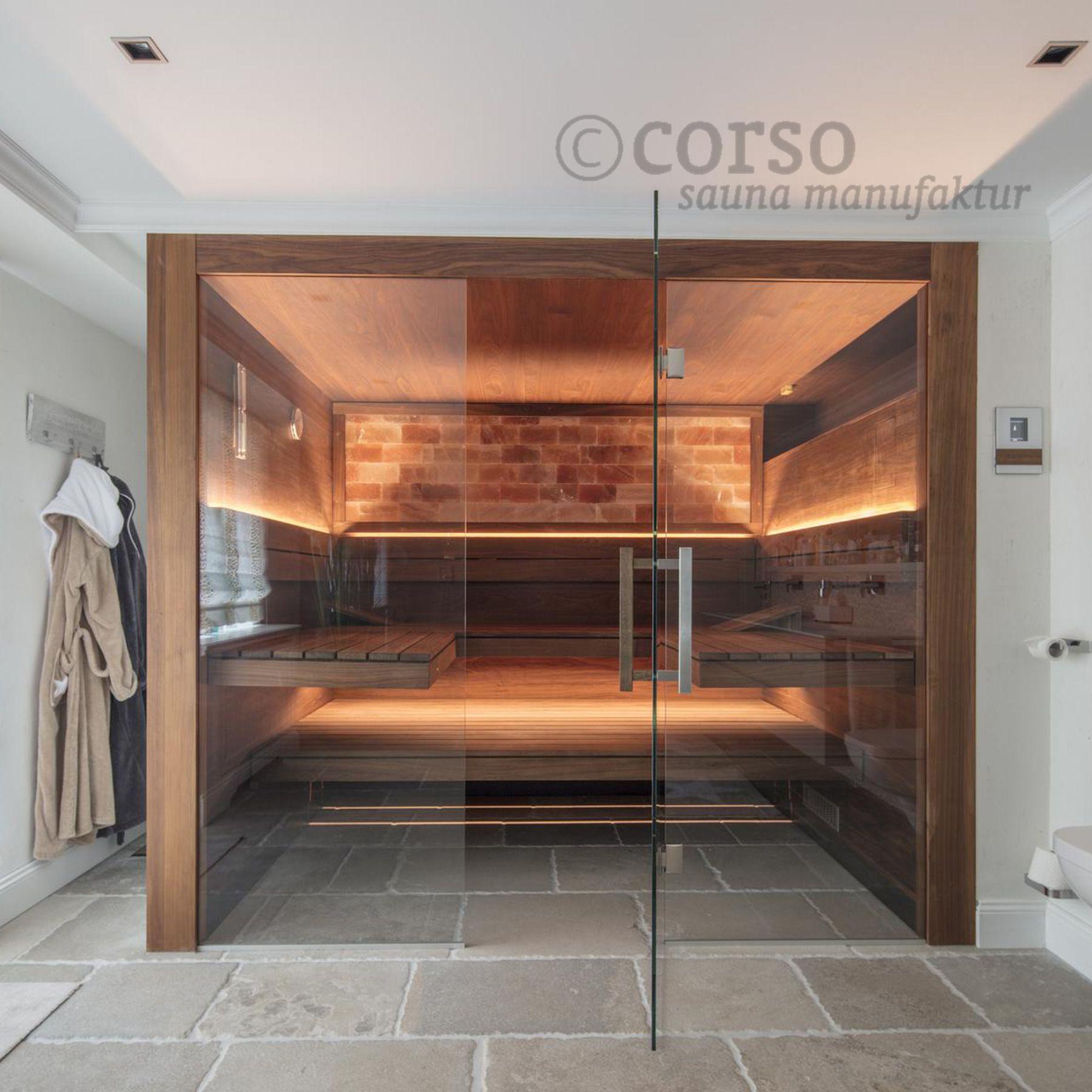 Designsauna Mit Glasfront Im Bad Sauna Ideen Sauna Fur Zuhause Badezimmer Mit Sauna