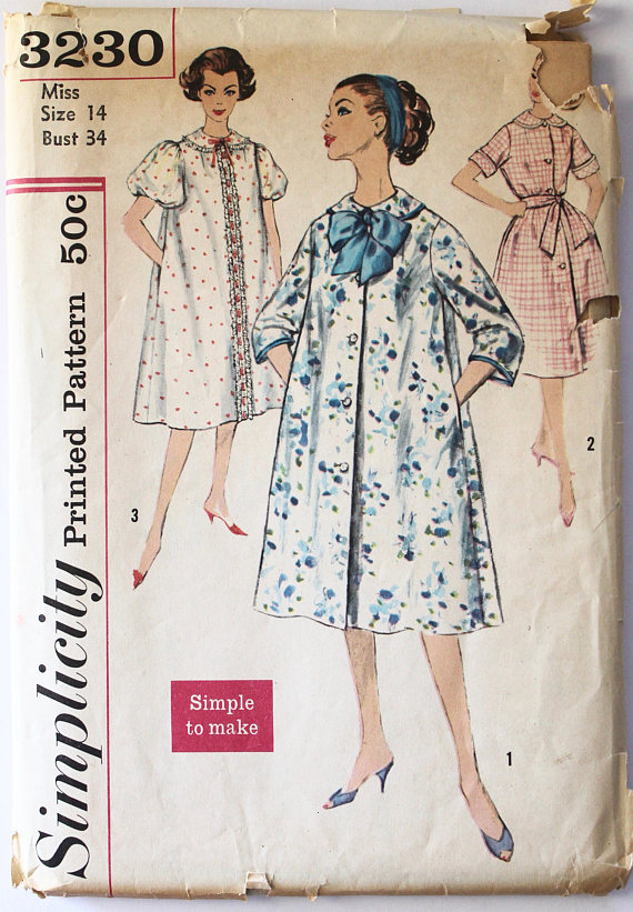 1f350580bce 1950s House Dress Robe Sewing Pattern Womens Robe  Housecoat Vintage Size  14 Bust 34 Simplicity 3230