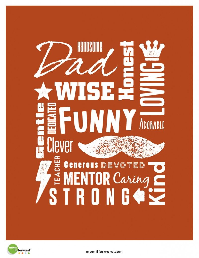 Father's Day Word Art Printable Father's day words
