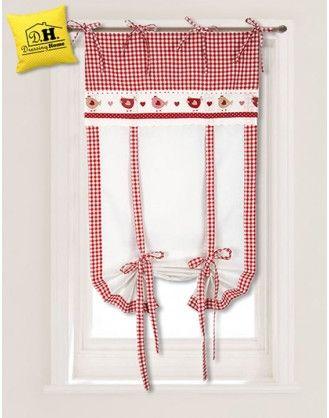 tenda finestra angelica home country collezione san gallo in fattoria rosso 60 x 160 cm