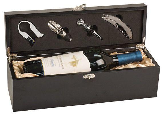 Matte Black Finish Wine Accessory Presentation by AwardsService