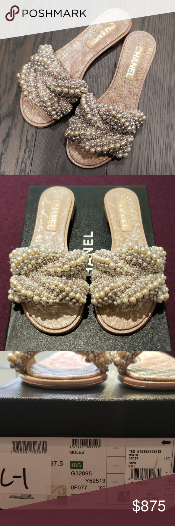 05fb2b179 Chanel Pearls Fantasy Mule sz 37.5 New in box Saks 5th Ivory color Really  gorgeous Authentic