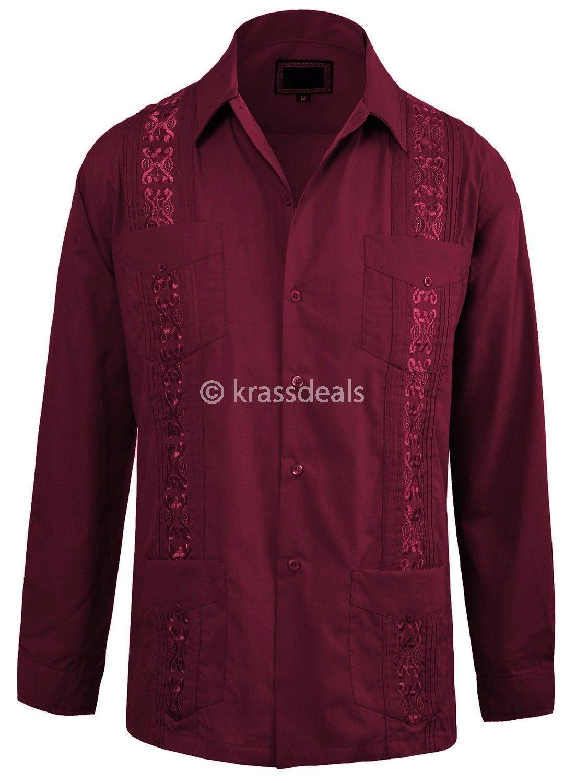 Guayabera Men/'s Beach Wedding Long Sleeve Button-up Cuban Shirt Lightblue