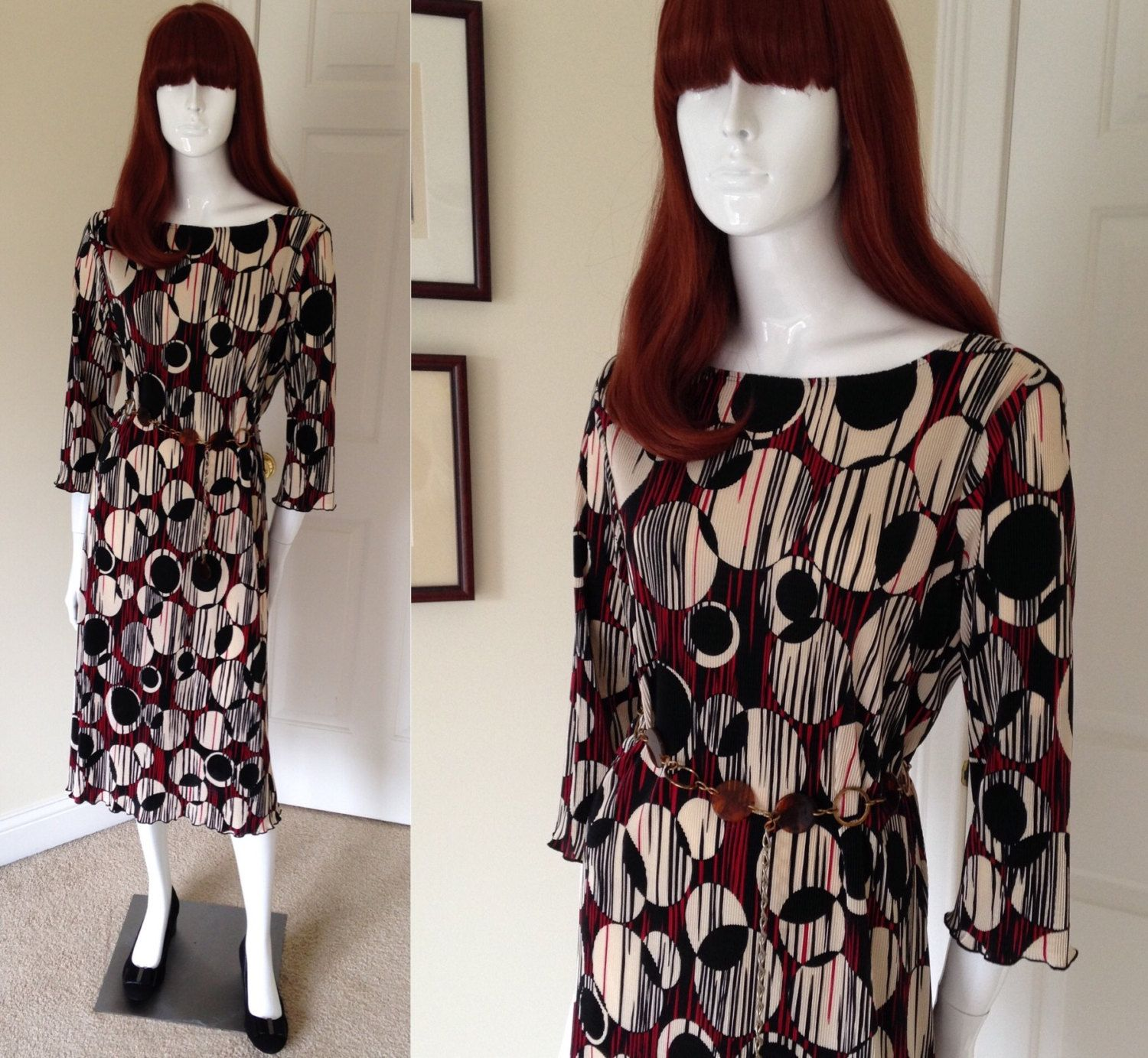 Us op art dress mid century red and black abstract print dress