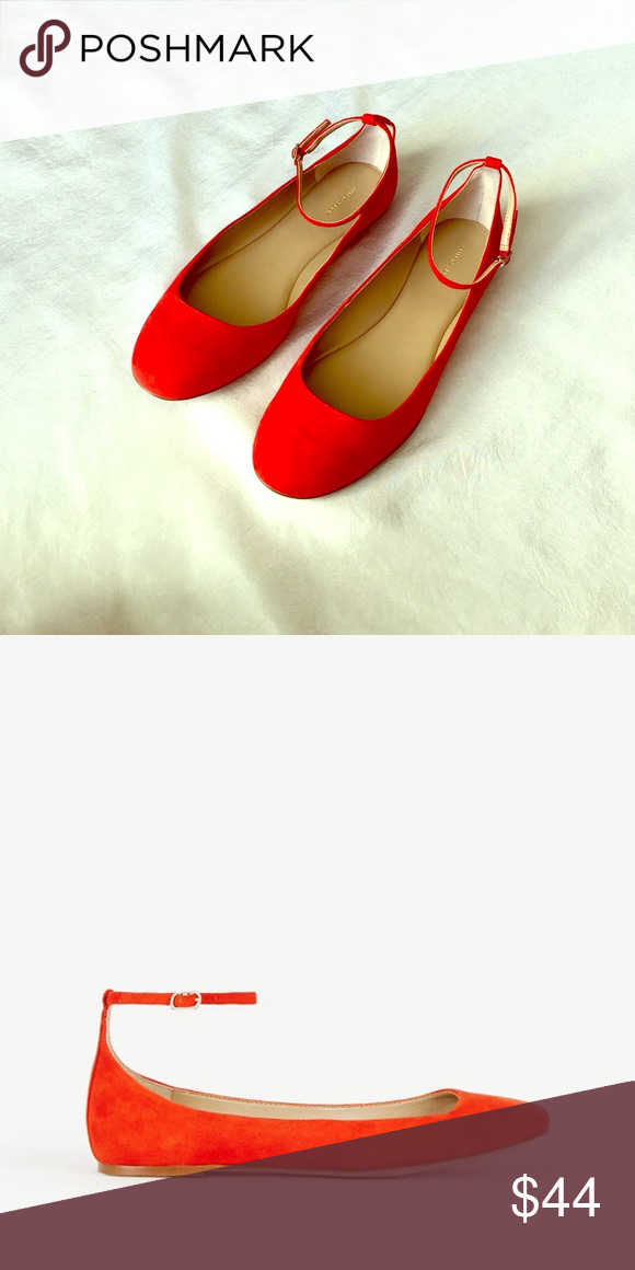Ann Taylor Fire Glow Orange Suede Ballet Flats Brand new; never been worn. Size 8.5. Ann Taylor Shoes Flats & Loafers