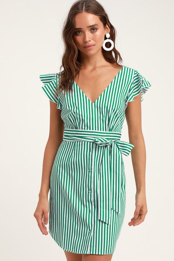 Peppermint Green Striped Shirt Dress In 2020 Green Striped Dress Shirt Striped Shirt Dress White Striped Romper