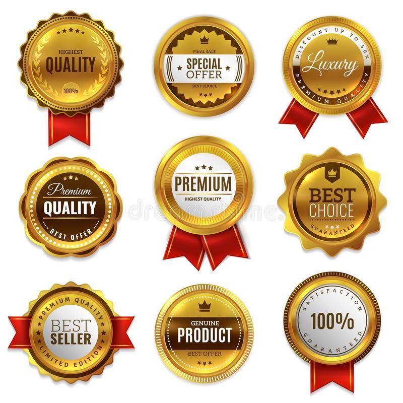 Gold Badges Seal Quality Labels Sale Medal Badge Premium Stamp Golden Genuine E Affiliate Sale Labels Badge Me Molduras De Luxo Distintivo Medalhas