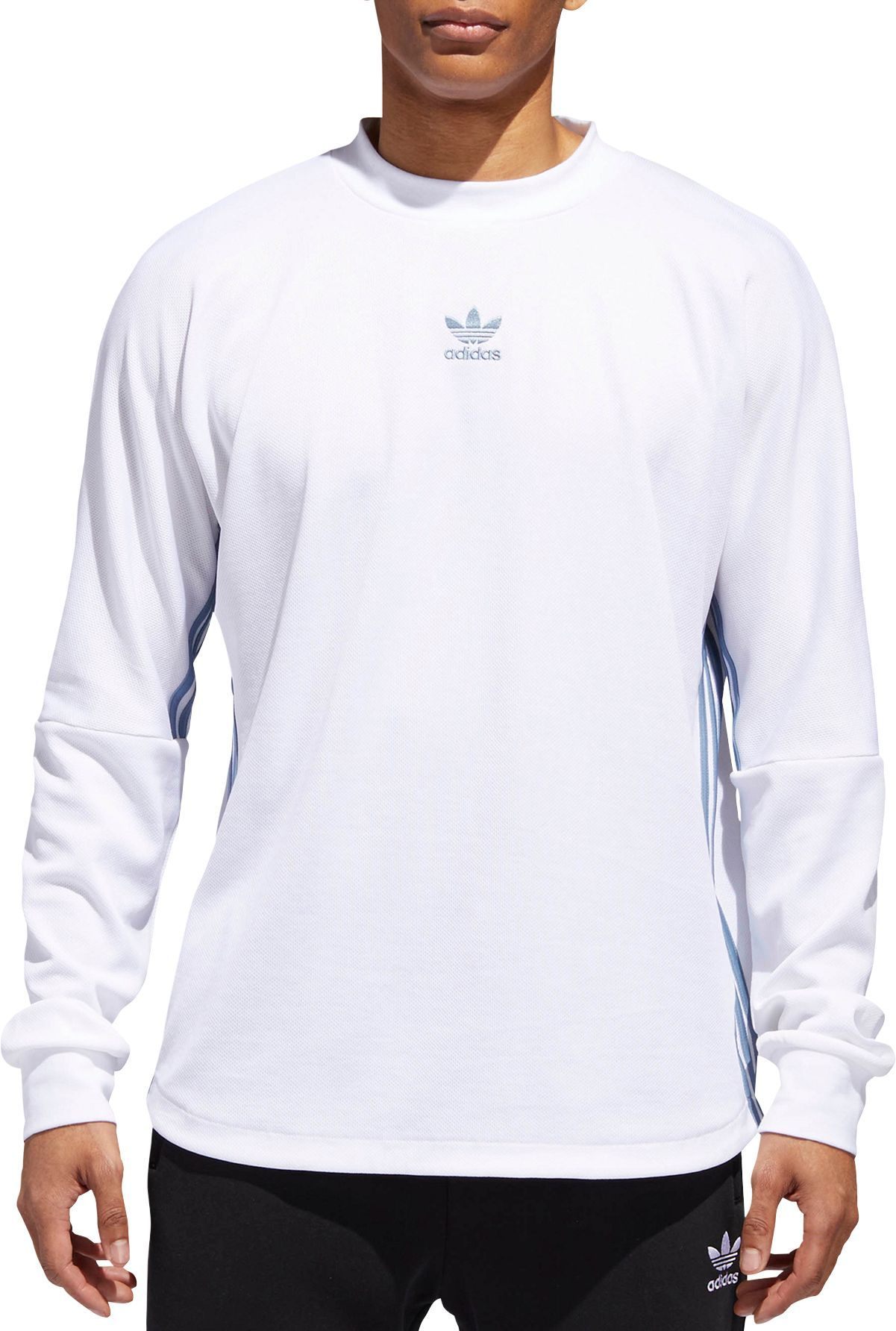 d92feba9a63a3 adidas Originals Men's Authentics 3-Stripes Jersey Long Sleeve Shirt, White