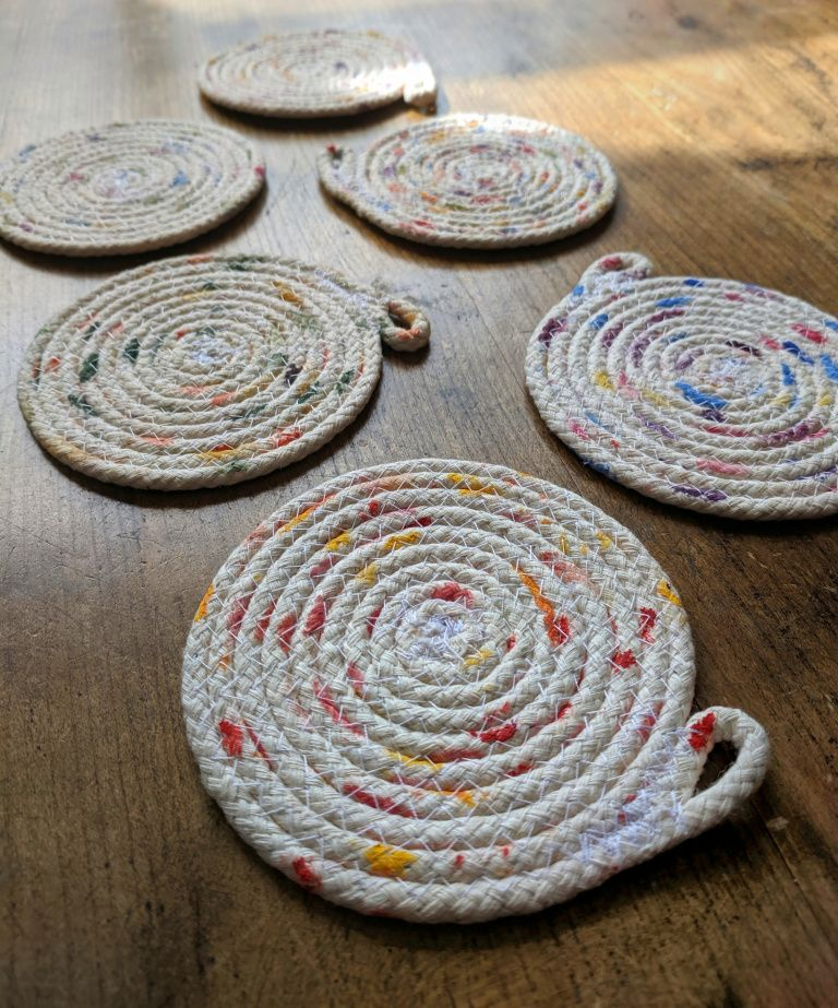 DIY coiled rope coasters
