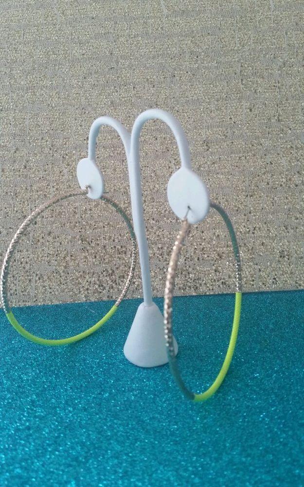 NEW TRENDY NEON YELLOW/GOLD FASHION HOOP EARRINGS. #Hoop