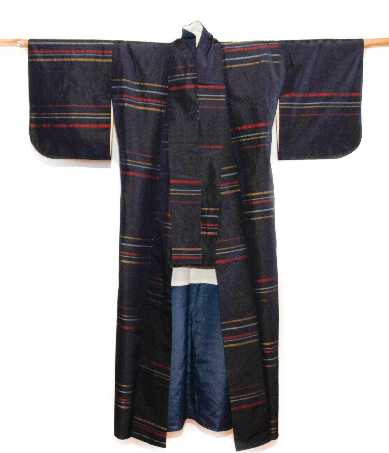 Navy Blue Japanese Vintage Kimono with Stripes, Robe, Gown, Coverup, Lounge Wear, Asian Wall Display, Gifts Under 100 by CJSTonbo on Etsy