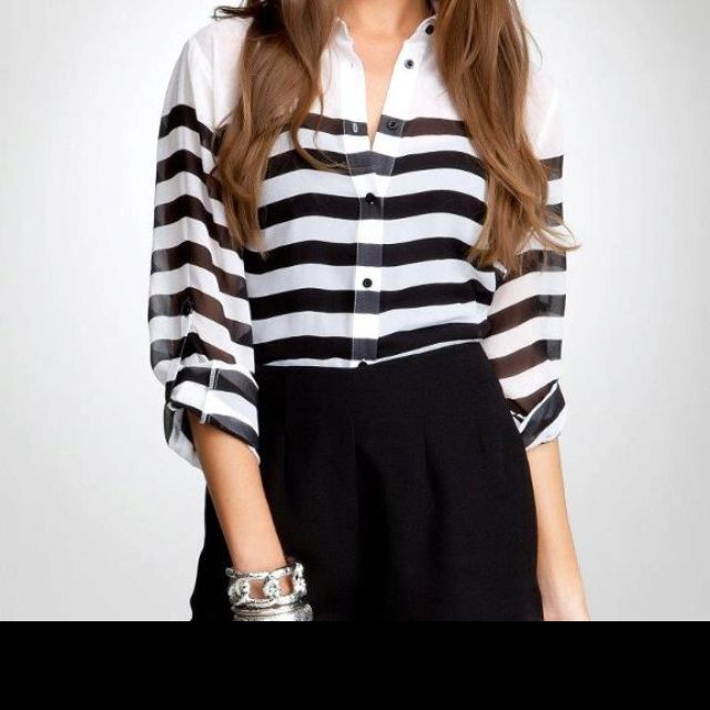 Beautiful blouse from bebe. Loving stripes right now!