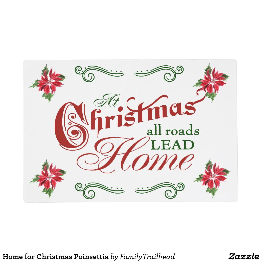 Home for Christmas Poinsettia Placemat - #placemats #homeforchristmas #homedecor