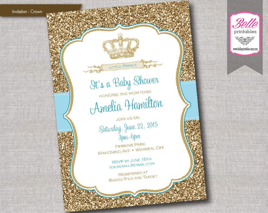 Baby Shower Invitation - Prince Crown for Boy and Gold Glitter- DIY ...