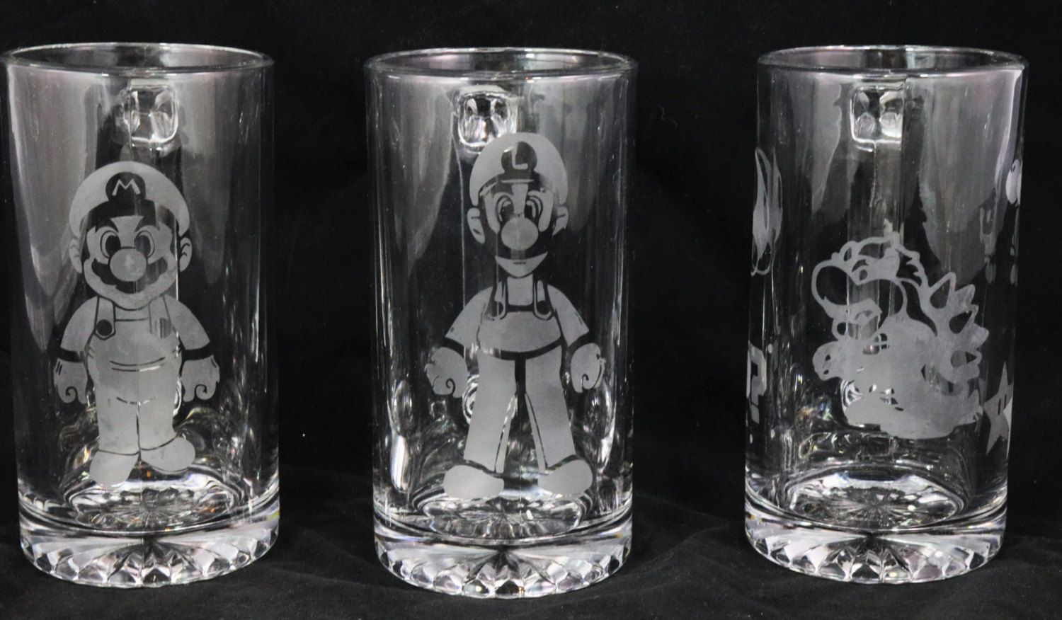 Super Mario Set of 3 Etched on Beer Mug by JeanandCompany85 on Etsy