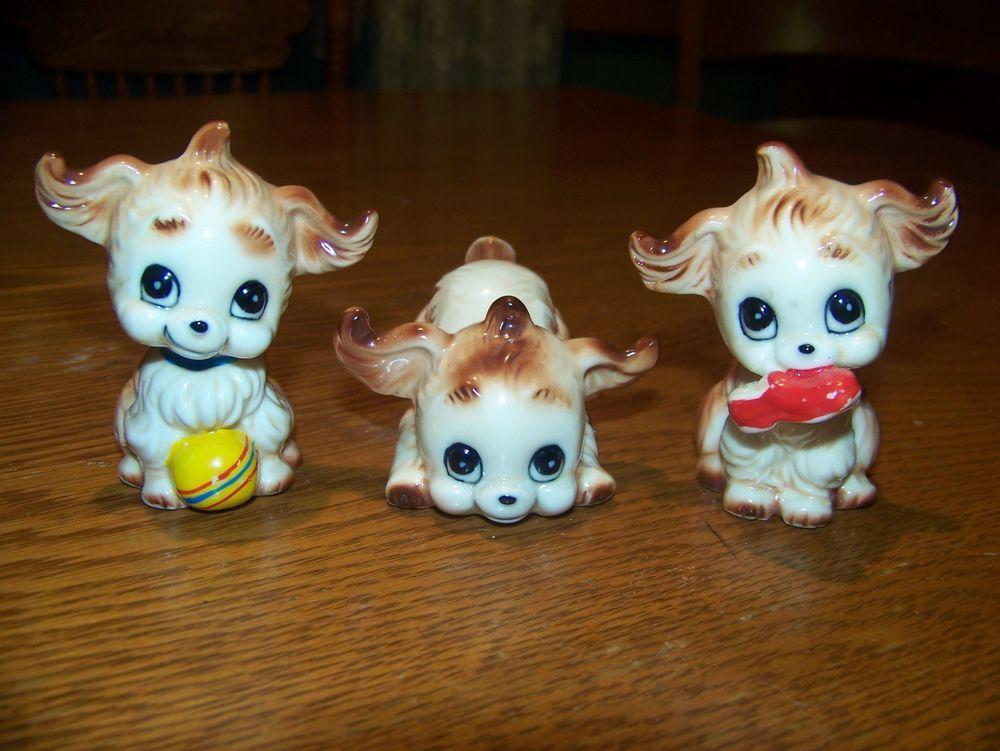 Set of 3 Bone China Playful Puppies