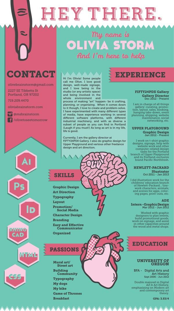 for creative fields  consider a visual resume  this one is