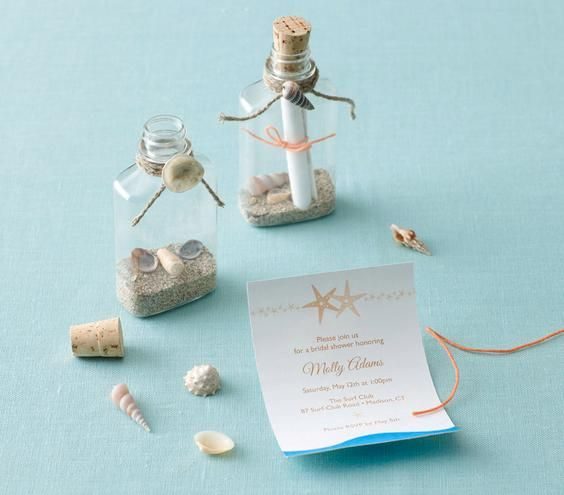 ac4aedfbb4f4d9 Beach-themed bridal shower invitation  Fill plastic bottles with sand and  shells
