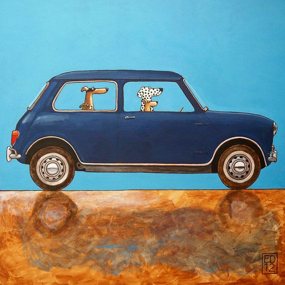 Austin Mini Classic by Ed van der Hoek  100x100 cm  Acrylic on canvas