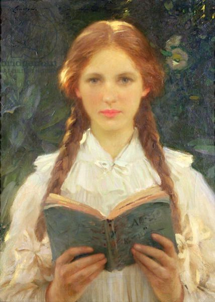 Girl with Pigtails, Llewelyn, Sir Samuel Henry William (1858-1941) / Private Collection / The Bridgeman Art Library