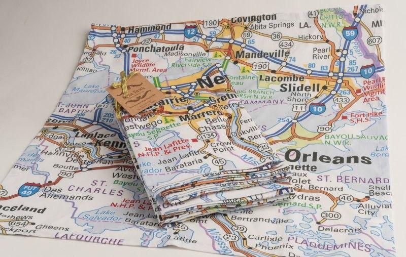 New Orleans Louisiana Map Napkin Set Louisiana Map New Orleans Louisiana