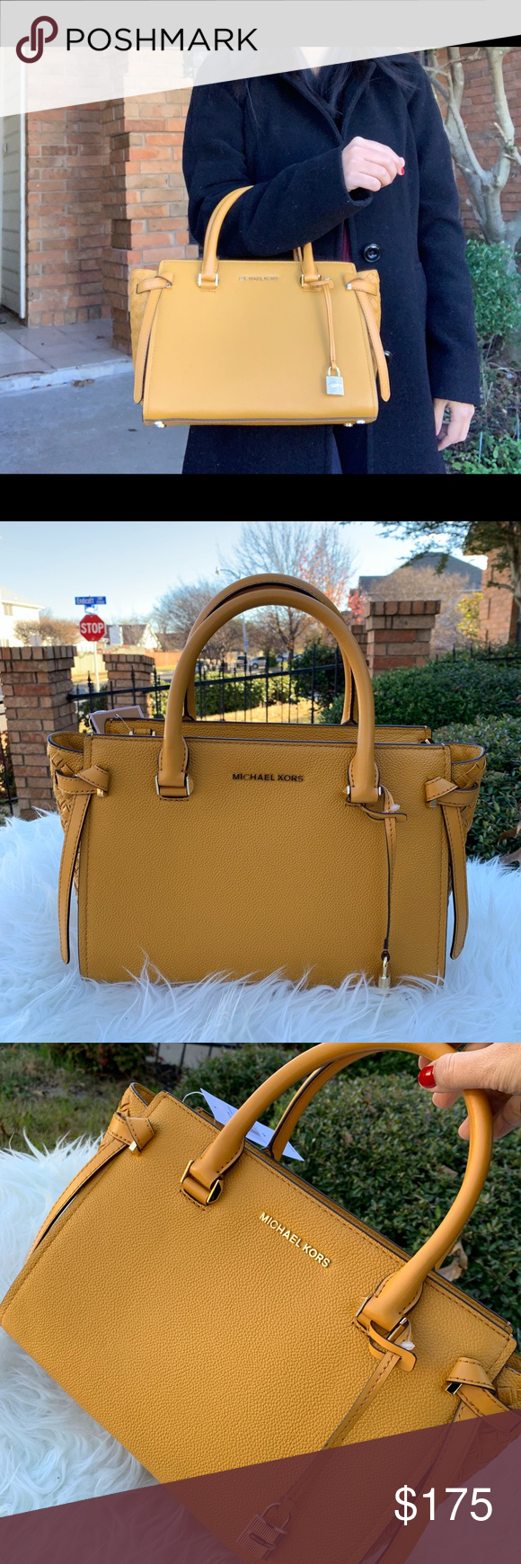 8a000eb2c031 ... Medium Satchel Leather Style 35H8GT6S6L New Collection from Michael  Kors Store today and I guarantee 100% authentic Color Marigold Size 11.4