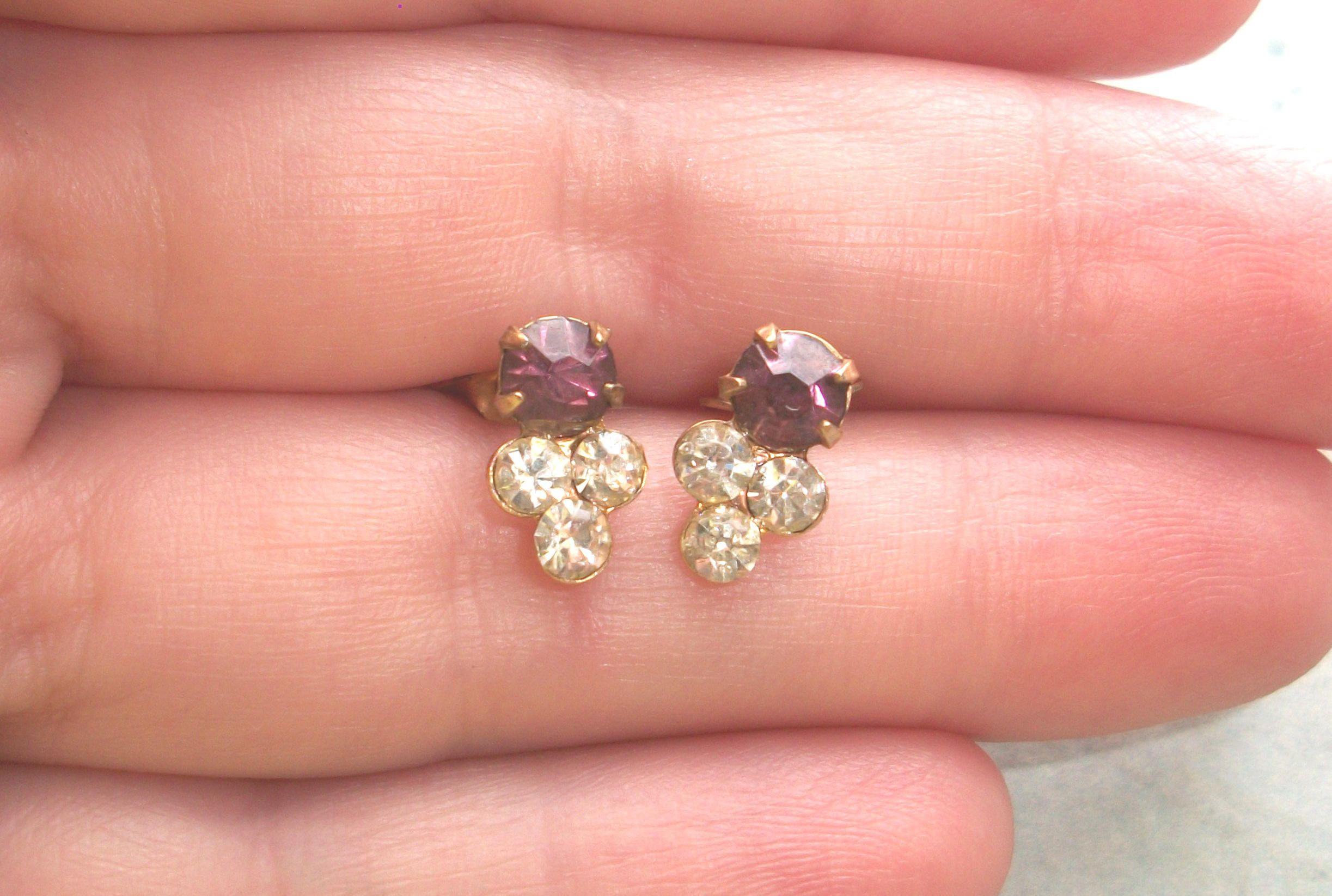 Vintage Victorian Purple Rhinestone earrings,threaded post,for ...