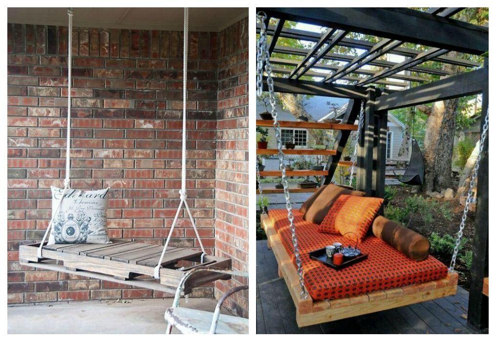 Columpios de palets ecodeco mobiliario pal s verano y - Columpios de terraza ...
