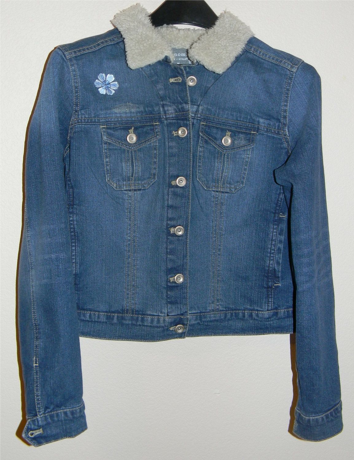 Jacket front. Denim Embroidered Jacket with Sherpa Collar. $65.00, via Etsy.