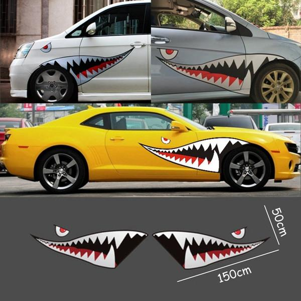 Red Grey Shark Mouth Tooth Teeth Reflective Sticker Vinyl