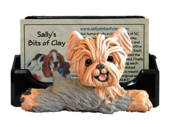 Grey and tan yorkie yorkshire terrier dog business card holder grey and tan yorkie yorkshire terrier dog business card holder iphone cell phone post it notes ooak sculpture by sallys bits of clay reheart Choice Image