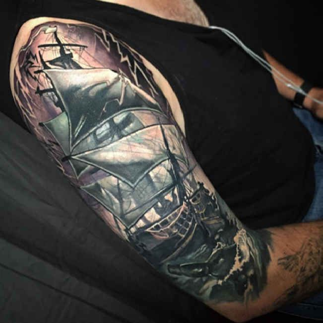 Tattoo Sailors And Message In A Bottle #Tattoo, #Tattooed