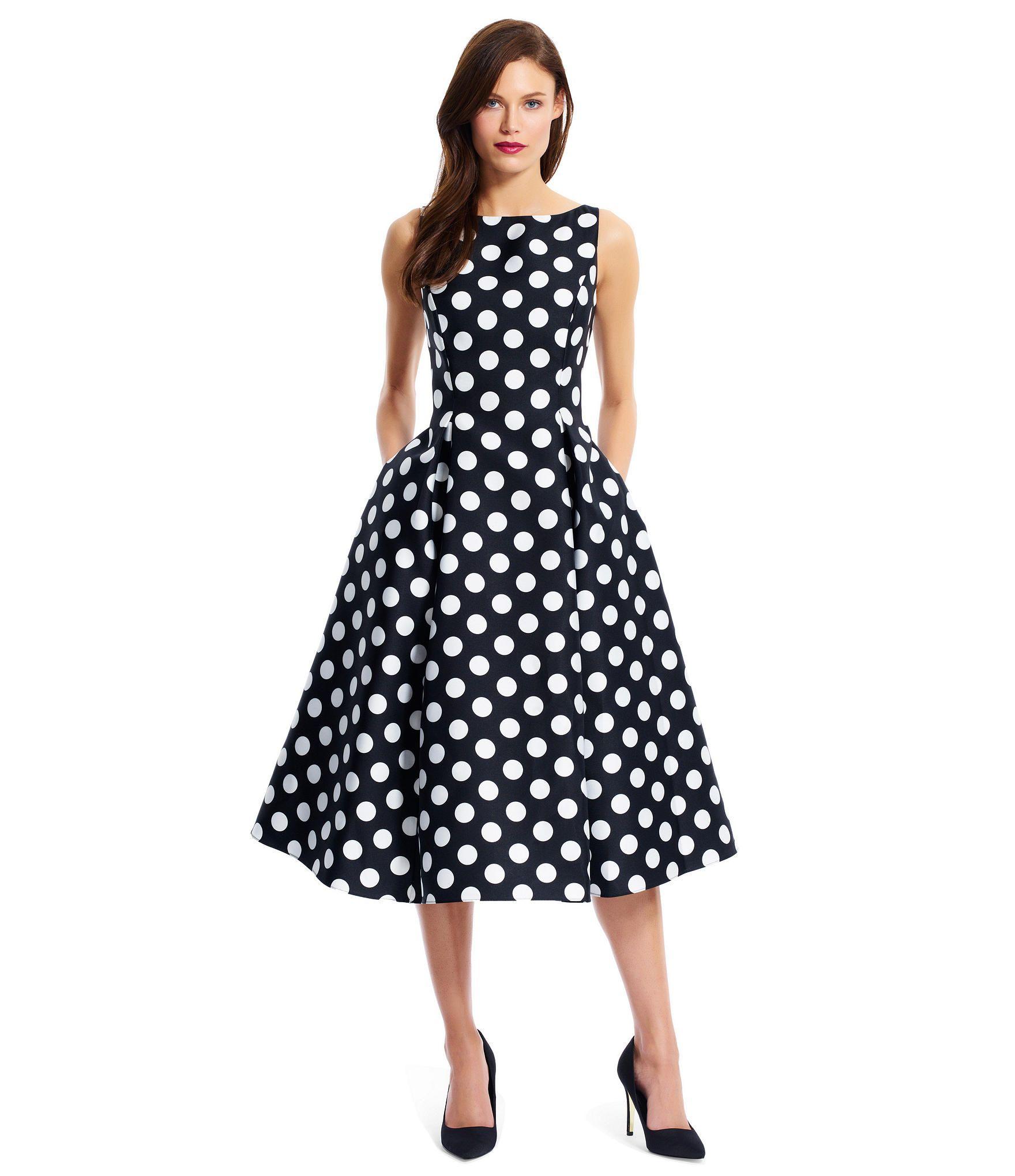 8881d10ff11 Adrianna Papell Polka Dot Tea Length Dress