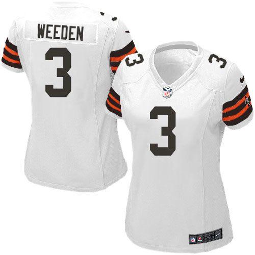 242b67567 Women s Nike Cleveland Browns  3 Brandon Weeden Elite White Jersey ...