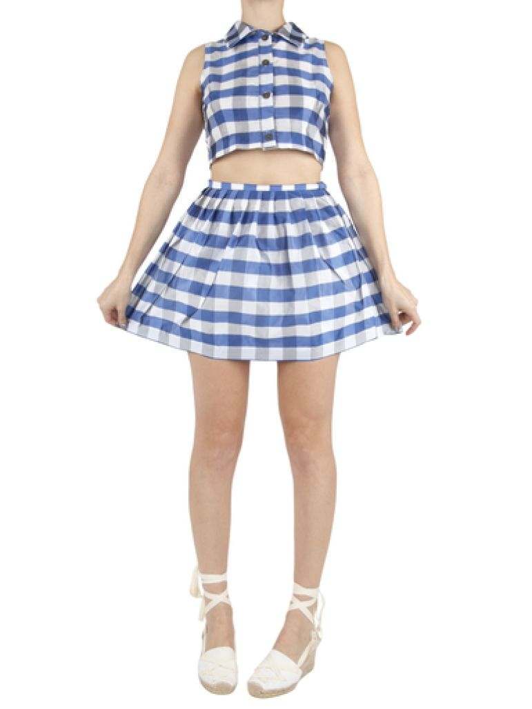 to make: CRYBABY Presents : CRYBABY Presents - Picnic Checkered Button-Down Crop
