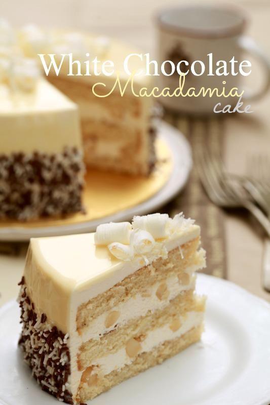 White Chocolate Macadamia Cake.