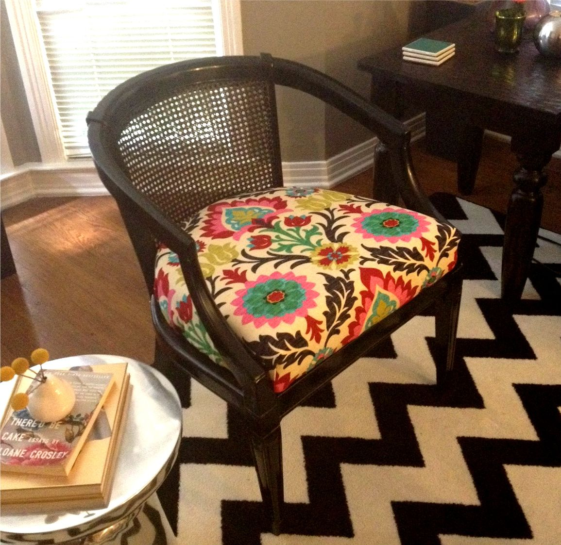 Reupholstered Cane Chair U0026 Chevron Rug