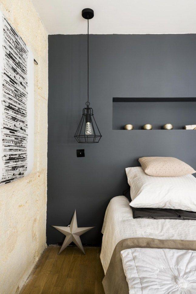 Chambre zen et cocooning avec mur peint en noir chambre - Chambre ton gris ...