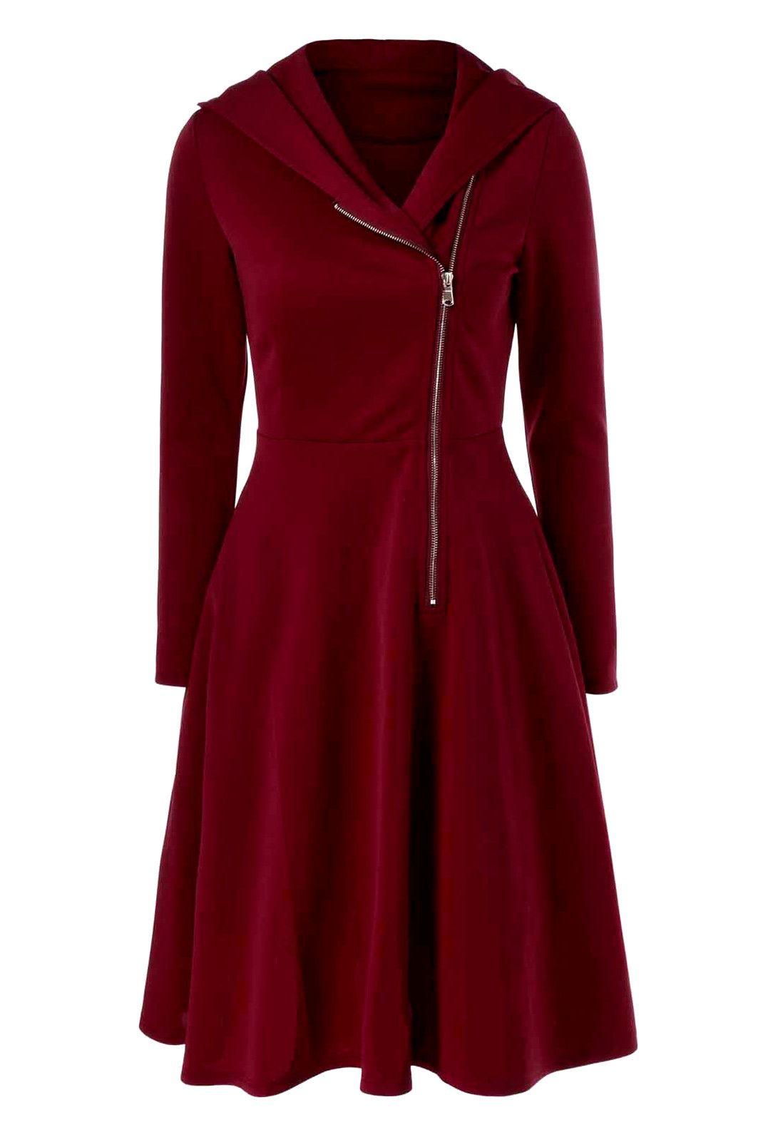 side zip hooded dress chemisie e vestidos pinterest