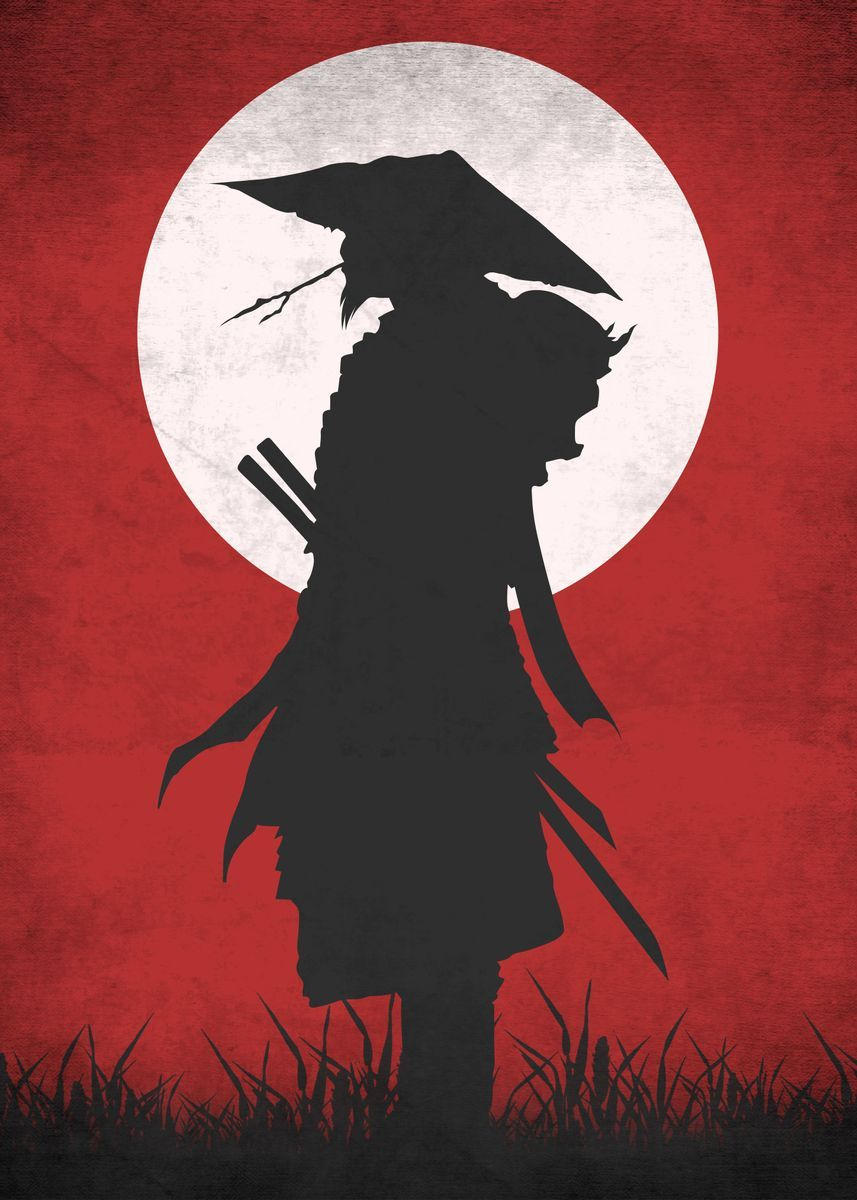 'Red Samurai' Metal Poster Print - Eternal Art | Displate