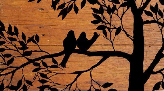 Birds in a Tree Silhouette on Reclaimed Barn by TKreclaimedART