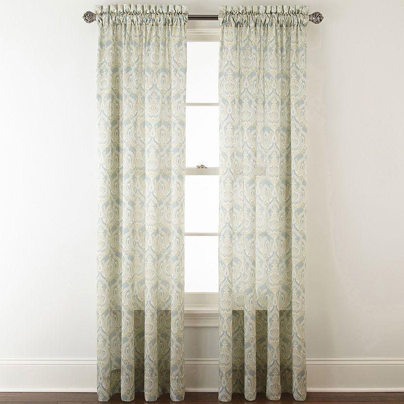 Jcpenney Home Hilton Damask Light Filtering Rod Pocket Curtain